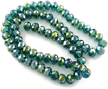 Dark Green Czech Crystal Beads Faceted Rondelle x 2021 model 8mm Direct sale of manufacturer AB 6 St 20