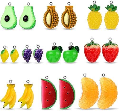 20 Pieces Fruit Pendants Charms 3D Imitation Food Fruit Pendants Resin Charms Strawberry Orange product image