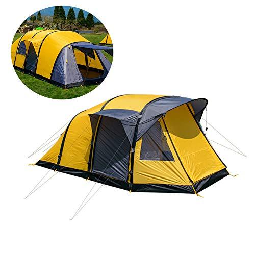 LKIHAH Lichtgewicht Unisex outdoor doomentent – 3-4 personen grote tent van een slaapkamer en een woonkamer opblaasbare tent in buitentent, geel, B