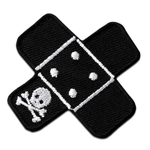 Pflaster Flicken mit Totenkopf - Aufnäher, Bügelbild, Aufbügler, Applikationen, Patches, Flicken, zum aufbügeln, Größe: 5 x 5 cm