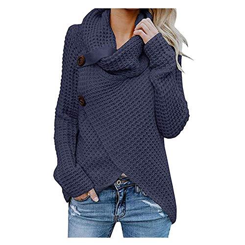iHENGH Damen Herbst Winter Übergangs Warm Bequem Slim Mantel Lässig Stilvoll Frauen Langarm Solid Sweatshirt Pullover Tops Bluse Shirt (Marine-1, S)