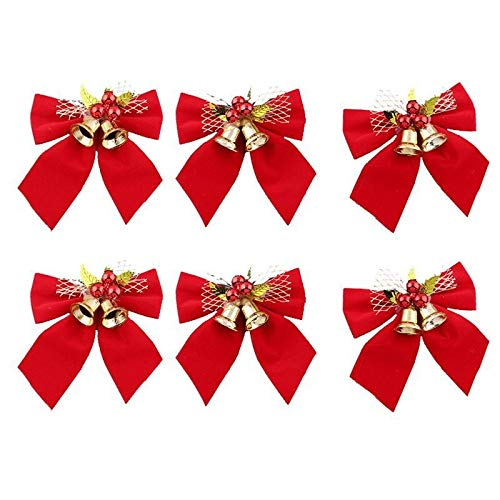 6pcs Red Noël Bowknots avec Bells Arbre de Noël Décoration Ruban Ruban rouge Arcs Fête Fournitures Arbre de Noël Arbre d'ornement DUO ER