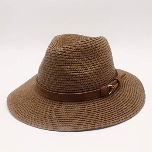 JINGZHONG Cappello da Sole Estivo per Donna Cappelli da Sole in Paglia Cappellino con Visiera Parasole A Tesa Larga Cappello in Paglia Massiccia Cappello da Spiaggia Sombrero