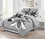 6 - Piece Grey, Gray, Black, White Floral Comforter Set Twin Size Bedding + Accent Pillows