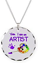 CafePress - 01-Yes-Im-An-Artist-Brush-N-Palette-TR - Charm Necklace with Round Pendant