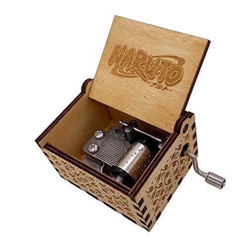 Mini-Spieluhr, Handkurbel, Naruto-Spieluhr, geschnitzt, hölzerne Musik-Geschenke