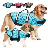 Dog Life Jacket Pet Safety Vest Adjustable Dog Life Vest with Reflective Stripes, Dog Lifesaver Pet Life Preserver Pet Swimming Jacket with Rescue Handle Leash Ring for Small Medium Large Dogs