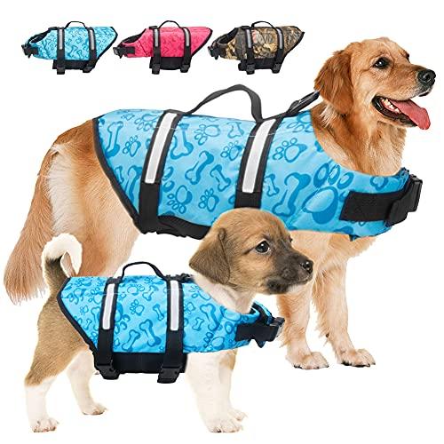 Dog Life Jacket Pet Safety Vest Adjustable Dog Life Vest with Reflective Stripes, Dog Lifesaver Pet...