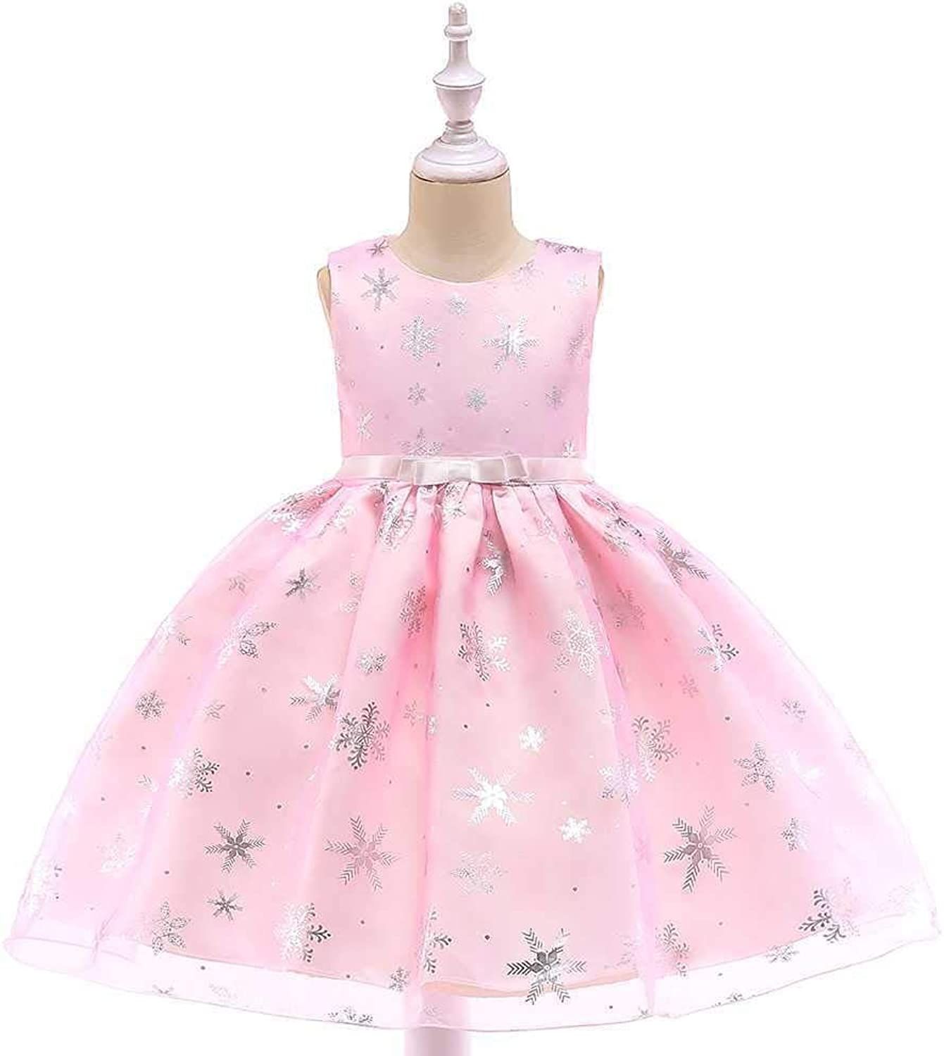 Girls Bowknot Princess Dress Lace Mesh Flower Girl Wedding Costume Piano Performance Clothing Cloth (color   Pink, Size   7-8Years)