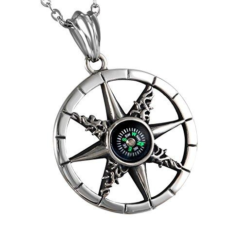 Cupimatch Herren Edelstahl Halskette, Kompass Anhänger Openwork Hochglanz Poliert mit 55cm Kette, Silber schwarz