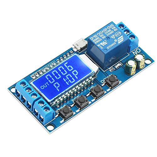 Timer Relay, DROK Time Delay Relay DC 5V 12V 24V Delay Controller Board Delay-off Cycle Timer 0.01s-9999mins Trigger Delay Switching Relay Module with LCD Display Support Micro USB 5V Power Supply