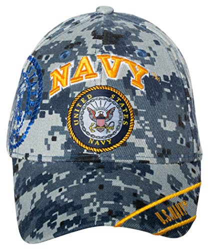 Officially Licensed United States Navy Logo Embroidered Baseball Cap (Digital Camo)