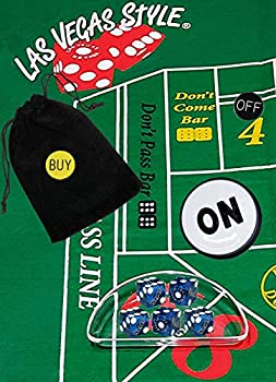Cyber-Deals Craps Starter Kit Sets Featuring Authentic Las Vegas Casino Table-Played Dice with Clear Acrylic Dice Boat  Harrah s  Blue Polished