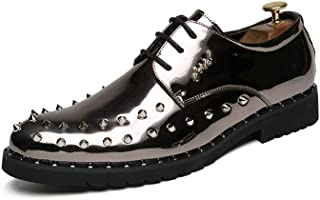 Aomoto Men's Fashion Oxford Casual Personality Rivet Lace Up Outsole Patent Leather Formal Shoes