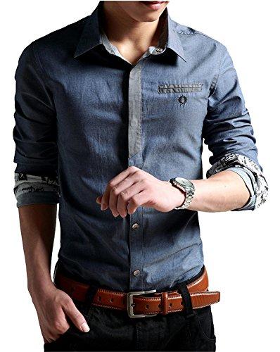 XTAPAN Men's Casual Shirt Long Sleeve Button Down Dress Shirt for Fall Blue XL