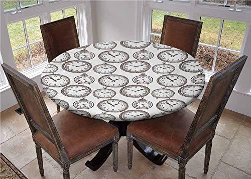 Funda de mesa redonda con bordes elásticos, reloj de bolsillo vintage con números en it diseño antiguo, cronómetros con estampado antiguo, mantel para exteriores, poliéster, Multi01, 79 inches