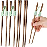 Nuenen 4 Pairs Wooden Chopstick and 2 Pieces Chopstick Helper Training Chopsticks Non-Slippery Reusable for Adults Beginner Trainers or Learner, Right or Left Handed