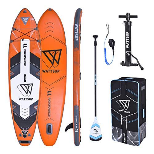 Wattsup Unisex-Adult PB-WESP110 Aufblasbar Stand up Paddle Drop Stitch EIN Lage Qualitat, Rot schwarz weiß, 335x81x15cm (11'x32''x6 ')