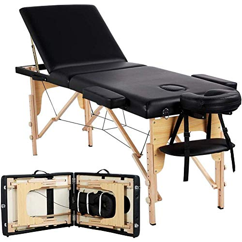 RTYUIO Portable Massage Table Lightweight Folding Metal Headrest Support Facial SPA Bed Tattoo Beauty Therapy Couch Bed Carry Bag Black Wooden 3 Sections