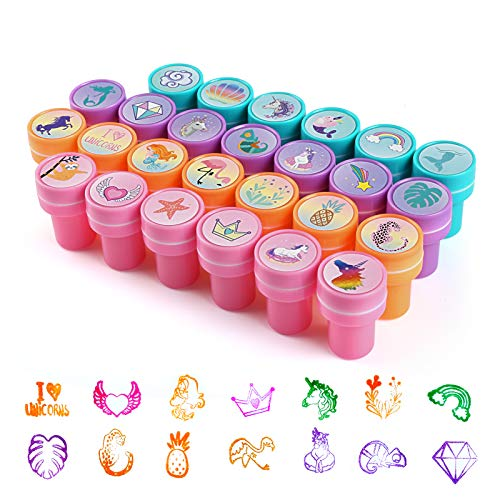 Kesote 26Pcs Unicorn Themes Stamps Stamps for Kids, Self Inking Stamps for Kids Birthday Gift, Unicorn Party Favors, Teacher Stamps