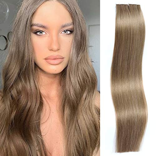 Caliee 16 inch Tape in Virgin Human Hair Extension Seamless and Reusable #8 Light Brown Straight Virgin Human Hair Double Side Invisible PU Tape Hair 50g/Piece, 20Pcs