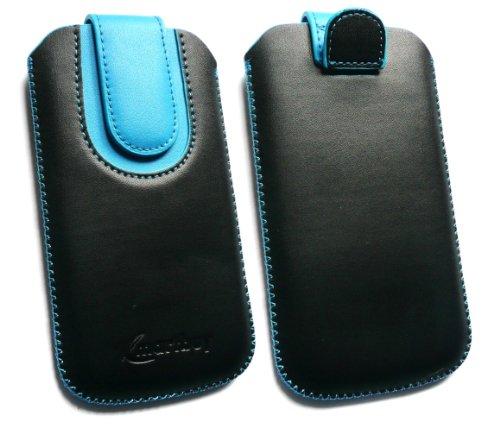 emartbuy® Schwarz/Blau Premium PU Leder Tasche Hülle Schutzhülle Hülle Cover (Größe 4XL) Mit Ausziehhilfe Geeignet Für BQ Aquarius E5