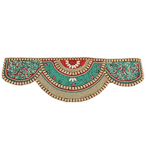Baoblaze Cinturón de Abalorios Étnico Banda Ancha Elástica para Cintura Cuerpo Ombligo (Negro/Verde) - Verde, una talla