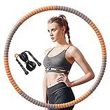 SPSH Aro de Hula Hoop Fitness - Desmontables,Hula Hoop Adultos para Ejercicios de Fitness,con Cuerda para Saltar,Núcleo Envuelto en Acero Inoxidable
