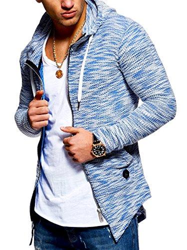 MT Styles Herren Strickjacke mit Kapuze Sweatjacke Kapuzenpullover Pullover MT-7531 [Blau, XL]