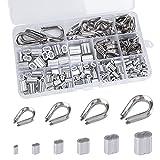 Juego de Fundas para Cuerda de Cable Manga de Aluminio M1.2 M1.5 M2 M2.5 M3 M4 Dedales de Acero Inoxidable M2 M3 M4 M5 con Caja de Almacenamiento 240 Piezas