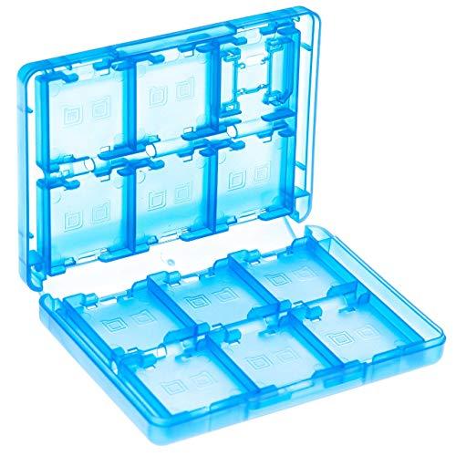 vhbw Etui Case für Konsolenspiele und Speicherkarten passend für Nintendo 3DS, 3DS LL, 3DS XL, DS Lite, DSi; blau/transparent