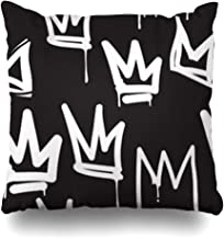iDecorDesign Throw Pillow Covers Queen Crown Tags Black White Graffiti Hand Drawing in Letter Hip Hop Street for Skateboard Abstract Home Decor Pillow Case Square Size 18 x 18 Inches Pillowcase