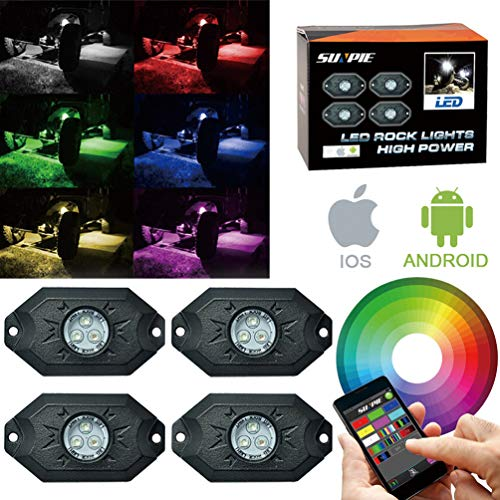 RGB LED Rock Lights -4 Pod Lights with Phone App/Remote Control & Timing & Music Mode & Flashing & Automatic Control & Color Grad Multicolor Neon Lights Under Off Road Truck SUV ATV