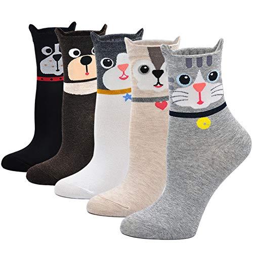ZFSOCK Damen Bunte Socken Lustige Socken mit Motiv Karikatur Tier Witzige Niedlich Katze Hund Coole Socken Baumwolle Weihnachten Geschenkideen für Frauen Mädchen 5 Paare