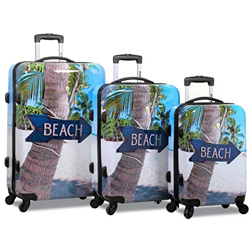 Rolite Beach Arrow Sign Hardside 3-Piece Spinner Luggage Set, Blue