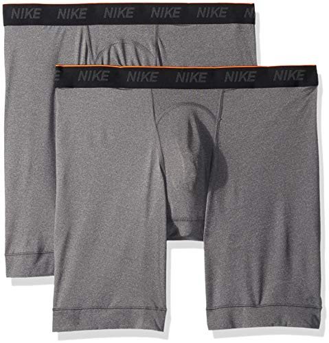 NIKE Men's Long Boxer Briefs (2 Pack), Anthracite/Anthracite/White, Large