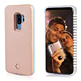 Selfie Light up Case for S9 Plus, FULLOPTO S9 Plus case with Selfie Light Rechargeable Battery and high Brightness Luminous Light Protection Cell Phone Case for Samsung S9 P (6.2inch Rose Gold)
