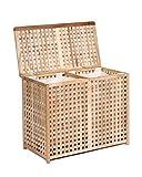 ts-ideen Wäschekorb Doppelkammer Wäsche Truhe 67 cm Höhe Badmöbel Massiv Walnuss Holz