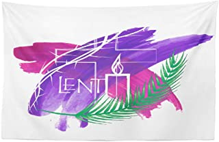 Watercolor Jesus Wall Tapestry,Tapestry Wall Art Abstract Symbols Purple Watercolor Cross and Candle Wall Tapestry for Bedroom Living Room Dorm Decor 45x30 Inches, Abstract Symbols
