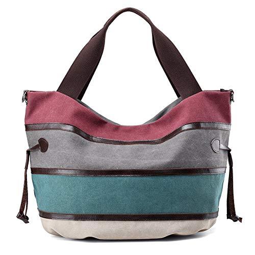 Damenhandtasche, Mode Leinwand Handtaschen Kontrastfarbe Handtasche Messenger Bag Umhängetasche lässig große Kapazität Strandtasche Einkaufstasche