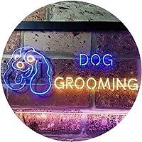 Dog Grooming Pet Shop Illuminated Dual Color LED看板 ネオンプレート サイン 標識 青色 + 黄色 400 x 300mm st6s43-i0529-by