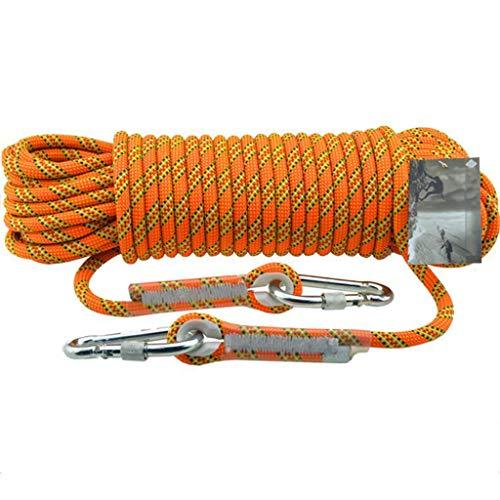 HUYYA Kletterseil Sicherheitsseil Bergseile, 11 mm Bergsteigerseil Allzweckseil Outdoor mit Sicherheitsverschluss Berg-Kletterseil Festmacherleine Outdoor Sport Camping,Orange_0.5M(2FT)