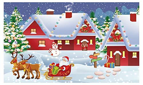 Funnytree Christmas Santa's Village Backdrop Photography Winter Merry Xmas Reindeer Wonderland Background Snowman Landspace Baby Kids Party Decor Portrait Cake Table Banner Photo Studio Props 5x3ft