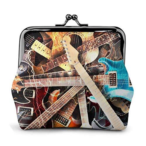 Magia Guitarra Eléctrica Música PU Cuero Exquisito Hebilla Monederos Bolsa Vintage Classic...