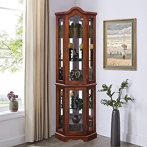 Lighted Corner Curio Cabinet - 5-Tier Glass Wood Liquor Cabinet with Tempered Glass Shelves and Light System, Display Curio Cabinet