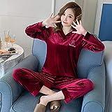 Conjunto De Pijamas Para Mujer,Conjunto De Pijama De Manga Larga De Terciopelo Dorado Para Mujer Cozy Wine Rojo Con Cuello En V Ropa De Dormir Cálida De Gran Tamaño Conjunto De Blusas Y Pantalones