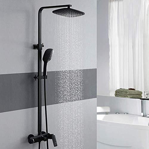 Tokyia Sistema de ducha de lluvia, juego de grifo de ducha, cabezal de ducha de lluvia y conjunto multifunción de ducha de mano, juego de ducha montado en la pared