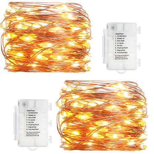 KooPower 2stk 50er LED Lichterkette, Batterie Lichterketten Außen, Kupferdraht Lichterkette 8 Modi, TIMER-Funktion, IP65 Wasserdicht für Outdoor, Garten, Weihnacht (Warmweiß)