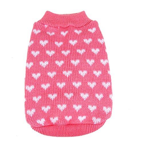 PanDaDa Puppy Dog Little Heart Pattern Knit Sweater Coat Jumper Jacket Small