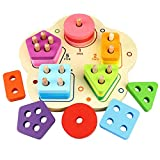 Naugust Baby Kids Shape Match Juguetes de Madera Shape Color Learning Geometric Sorting Board Juguetes educativos para niños Building Blocks